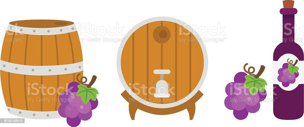 Wooden barrel and wine bottle.illustration vector art illustration