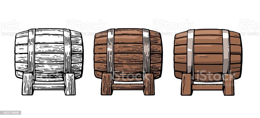 Wooden barrel. Color vintage engraving and flat vector illustration. – Vektorgrafik