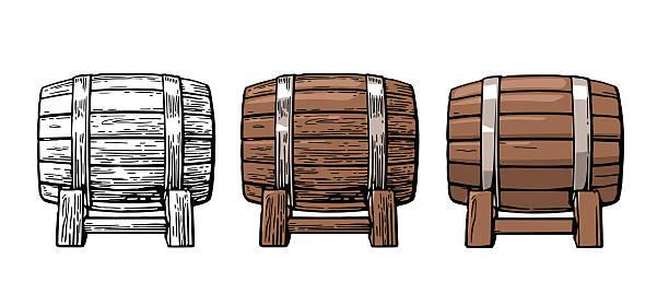 Wooden barrel. Color vintage engraving and flat vector illustration. – Vektorgrafik