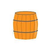 Wooden barrel. Element for St. Patrick s Day. Cartoon illustration for pub invitation, t-shirt design, cards or decor