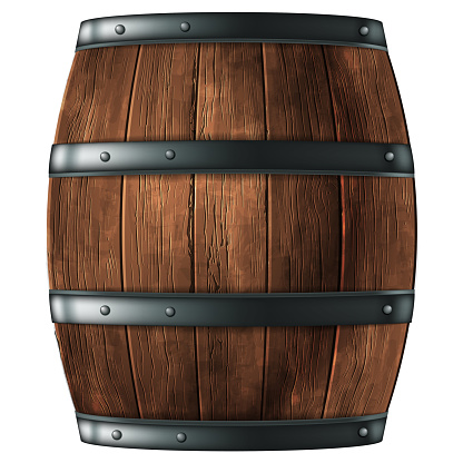 Wooden barrel for wine or other drinks, studded with iron rings on a white background. 3D vector. High detailed realistic illustration.