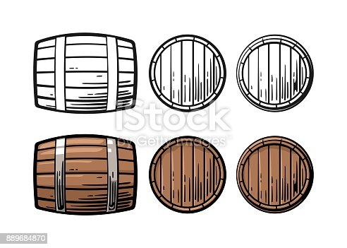 istock Wooden barrel front and side view engraving vector illustration 889684870
