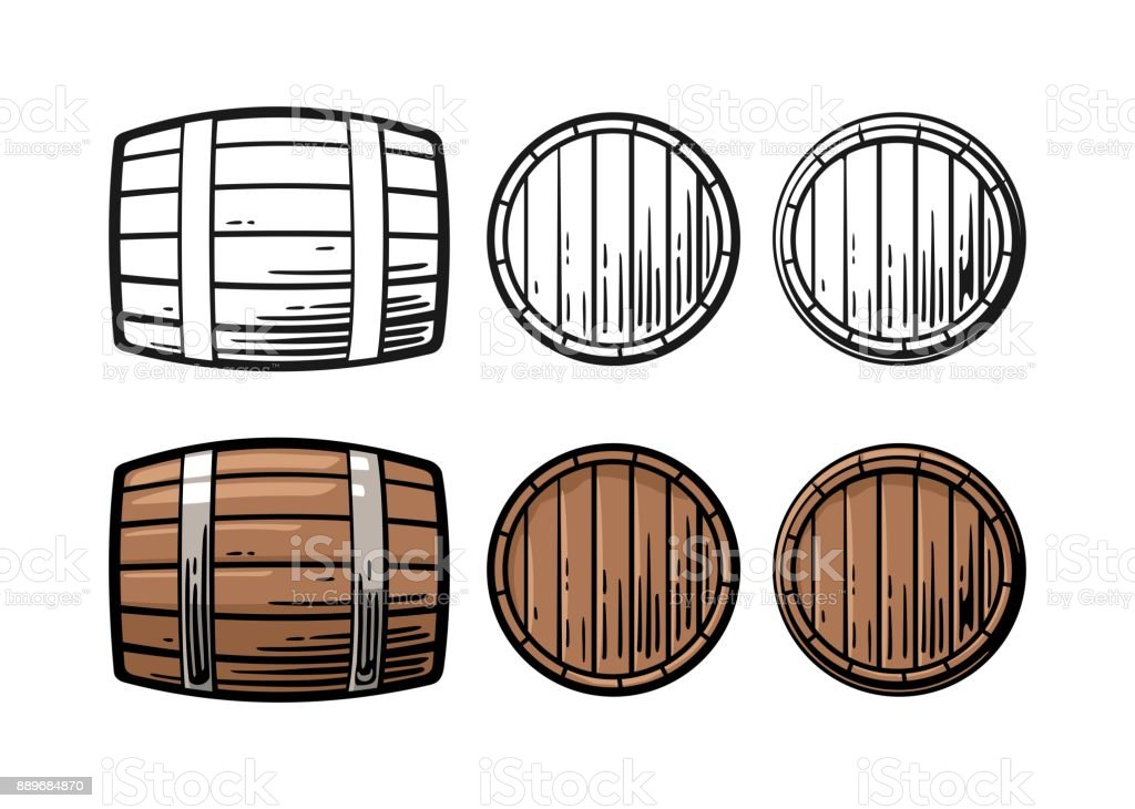 Wooden barrel front and side view engraving vector illustration vector art illustration