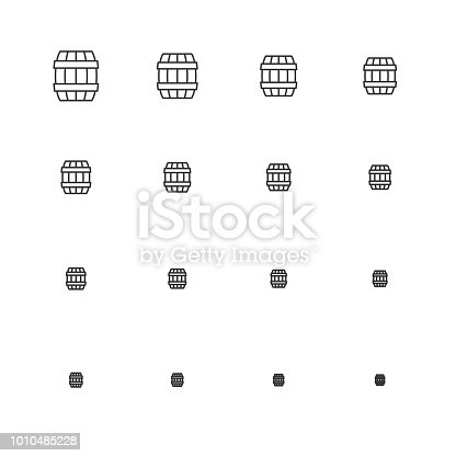 Wooden Barrel Icons Multi Scale Line Series Vector EPS File.