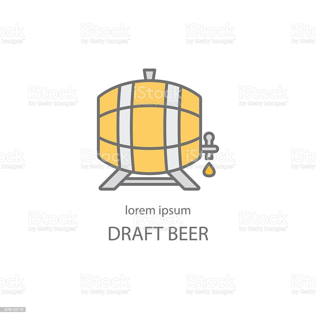 Wooden barrel logo design vector art illustration