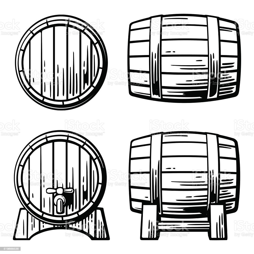 Wooden barrel set engraving vector illustration vector art illustration