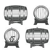 Wooden barrel set