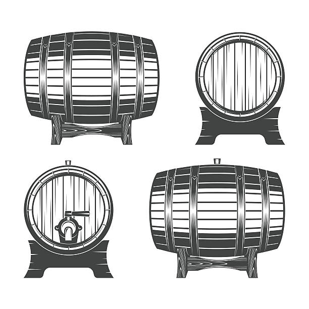 Wooden barrel set vector art illustration