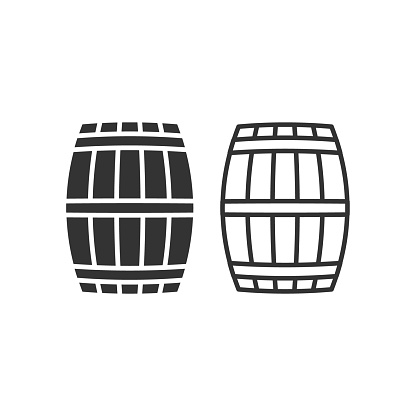 Wooden barrel vector icon. Beer and wine wood container symbol. Whiskey and rum brewery sign. Simple shape alcohol drink logo.