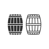 istock Wooden barrel vector icon. Beer and wine wood container symbol. Whiskey and rum brewery sign. Simple shape alcohol drink logo. 1290052699