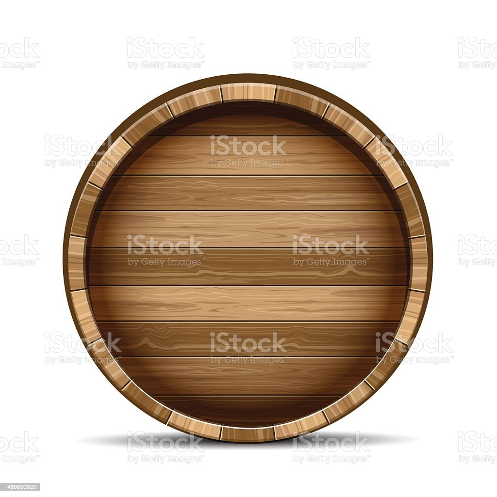 Wooden barrel vector art illustration