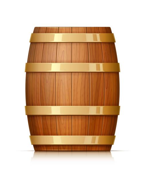 ilustrações de stock, clip art, desenhos animados e ícones de wooden barrel. vessel for keeping wine, beer and beverage. vector illustration. - barrica