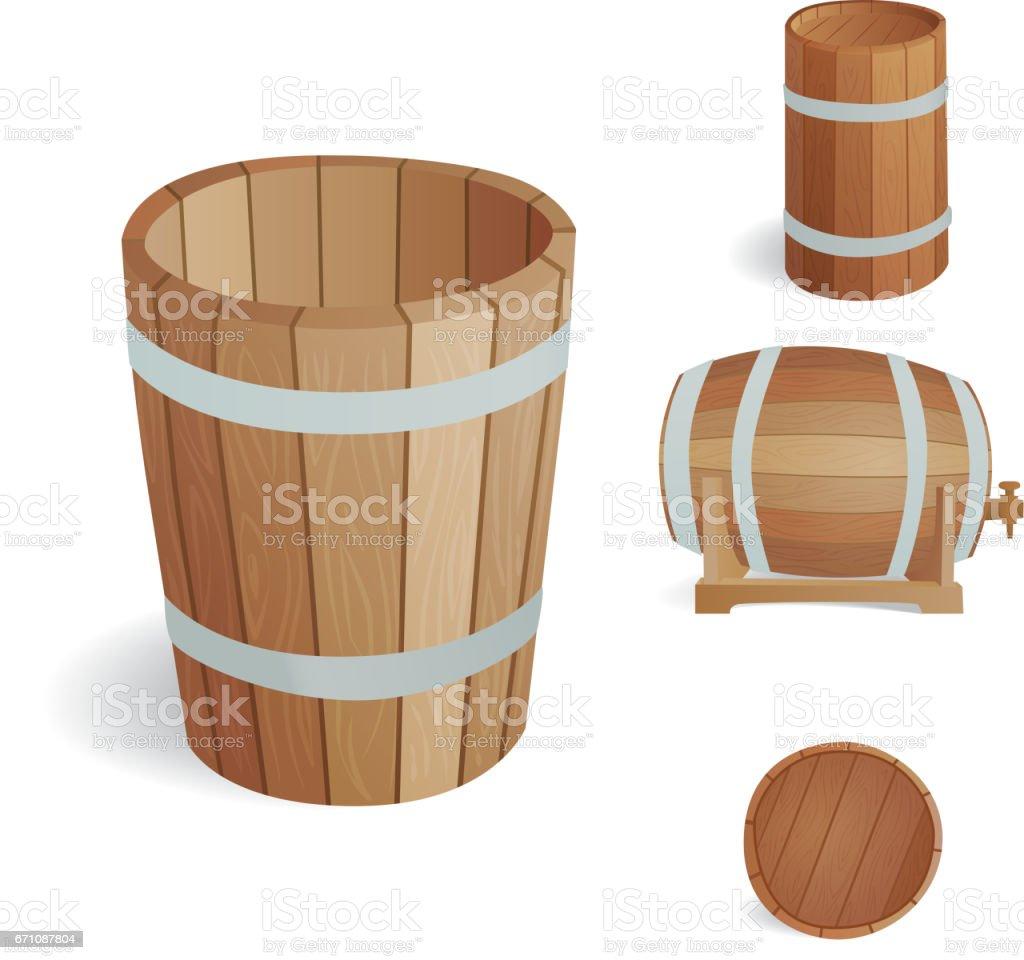 Barril de madera vintage antiguo roble estilo contenedor y objeto marrón aislada retro bebida líquida fermentación a cargo de la destilería de tambor ilustración de vector de cerveza - ilustración de arte vectorial