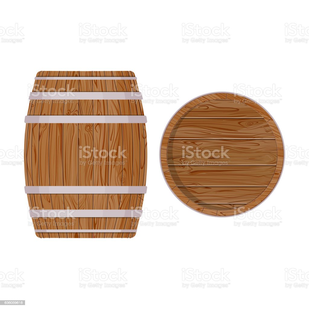 Wooden barrel with iron rings. Isolated on white background. Vector vector art illustration