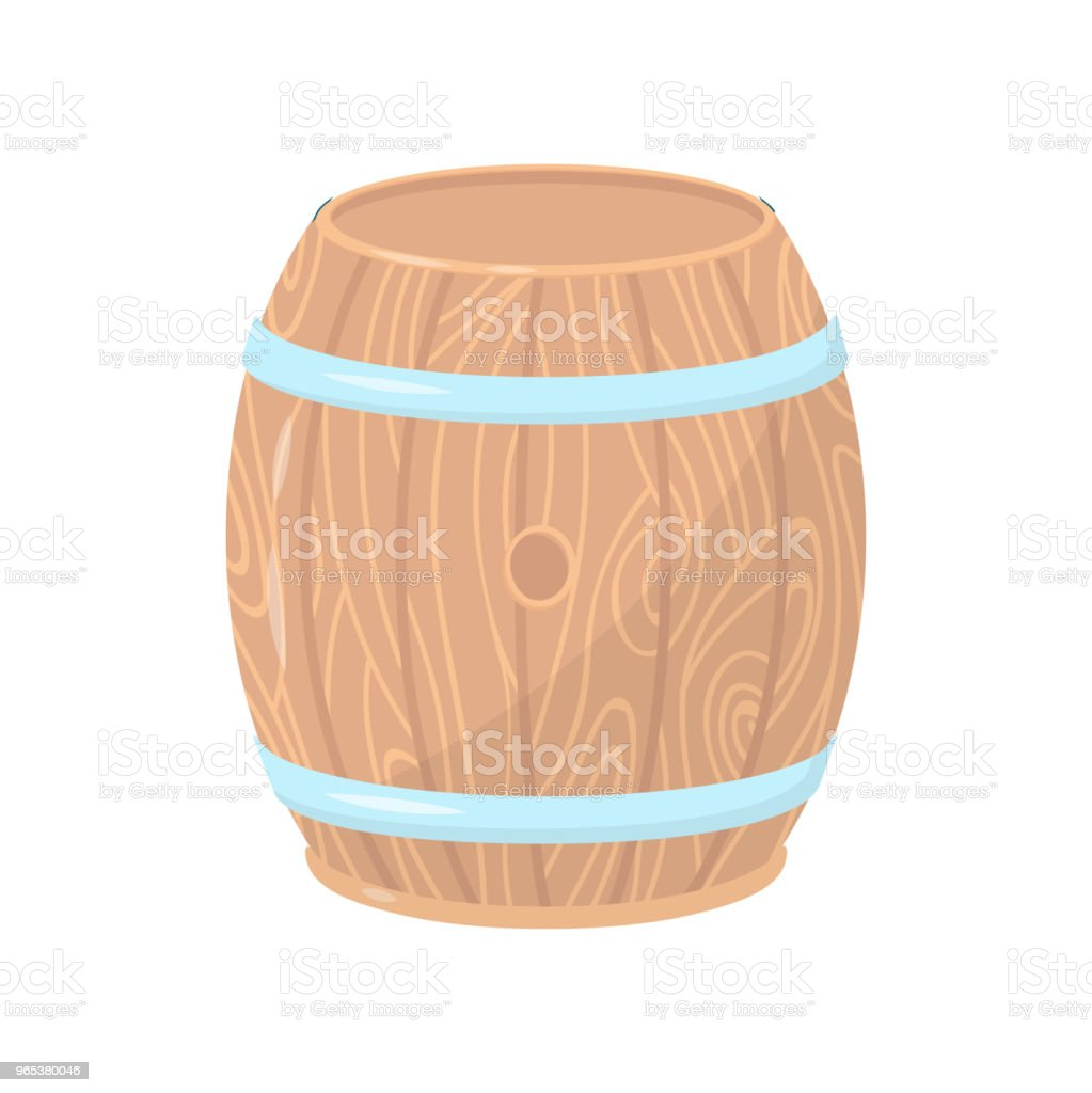 Wooden barrel with metal hoops. Cylindrical container made of wood. Flat vector element for poster, banner or flyer wooden barrel with metal hoops cylindrical container made of wood flat vector element for poster banner or flyer - stockowe grafiki wektorowe i więcej obrazów bez ludzi royalty-free