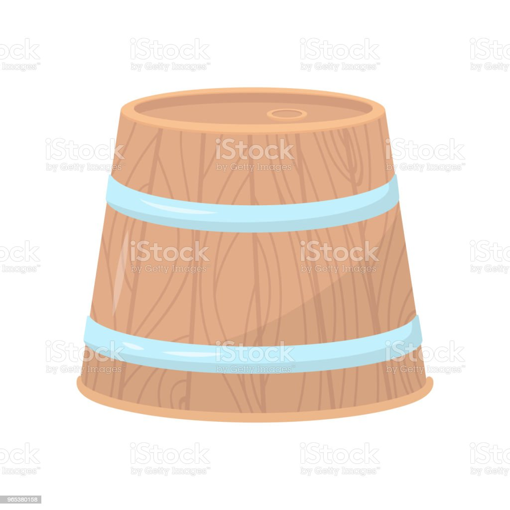 Wooden barrel with two metal hoops. Large round container for alcoholic beverages. Flat vector design for poster or banner royalty-free wooden barrel with two metal hoops large round container for alcoholic beverages flat vector design for poster or banner stock vector art & more images of cartoon