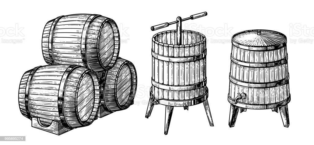 Wooden barrels and press vector art illustration