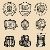 Wooden barrels collection for alcohol drinks icons or signs. Hand sketched kegs emblems. Whiskey,beer,wine symbols set.