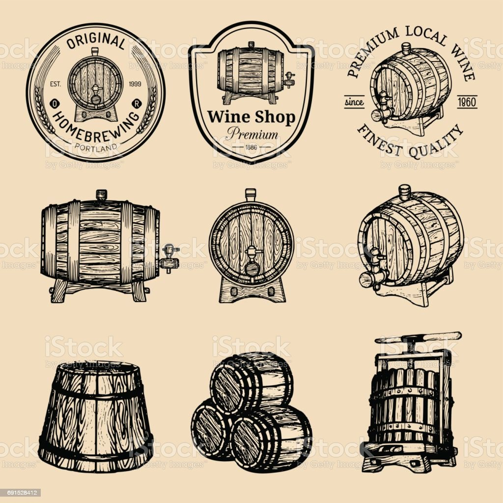 Wooden barrels collection for alcohol drinks icons or signs. Hand sketched kegs emblems. Whiskey,beer,wine symbols set. vector art illustration