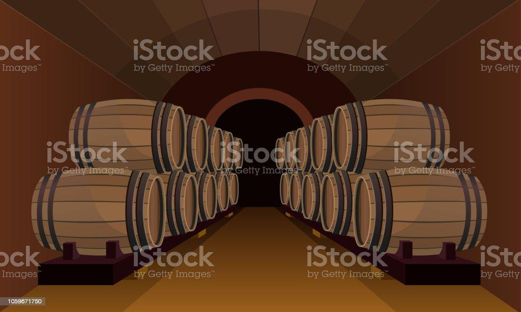 Wooden barrels in the wine cellar