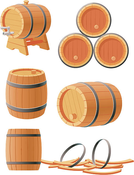 Wooden barrels vector art illustration
