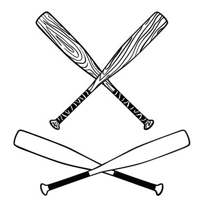 Wooden baseball bats logo symbol in cartoon style