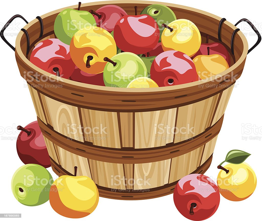 royalty free apple basket clip art vector images