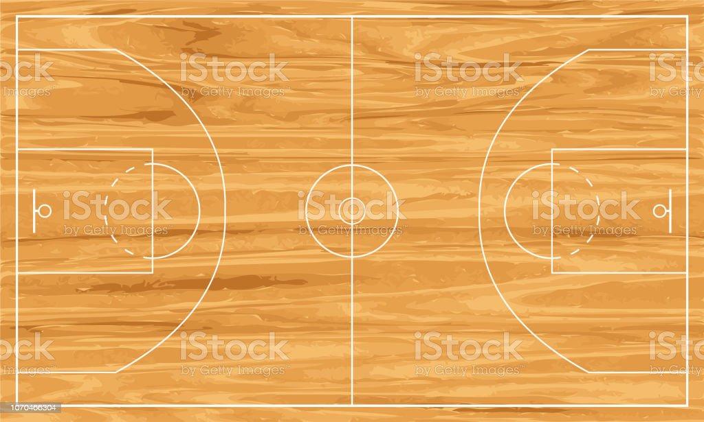 terrain de basket en bois - Illustration vectorielle