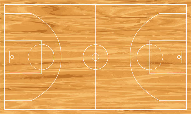 wooden basketball court vector art illustration