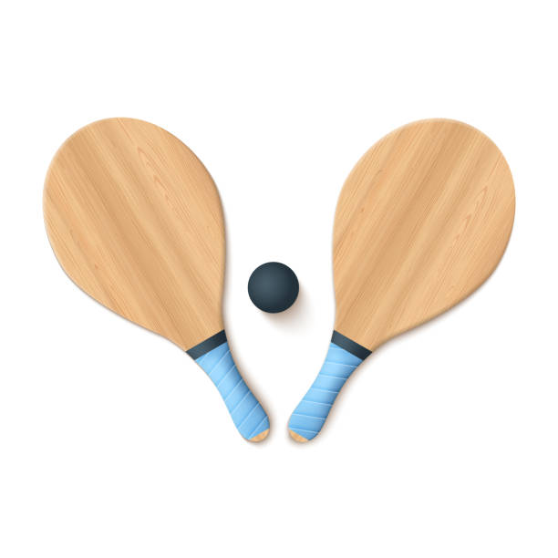 Wooden Beach Bats Wooden Beach Bats And Ball Isolated On White. Vector Photo Realistic llustration racket stock illustrations