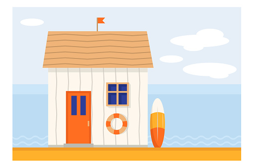Wooden beach bungalow at the seaside vector
