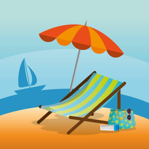 hölzerne strandkorb an einem strand landschaftsdesign - stuhllehnen stock-grafiken, -clipart, -cartoons und -symbole