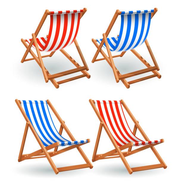 illustrations, cliparts, dessins animés et icônes de ensemble de chaise de plage en bois isolé sur fond blanc - transat