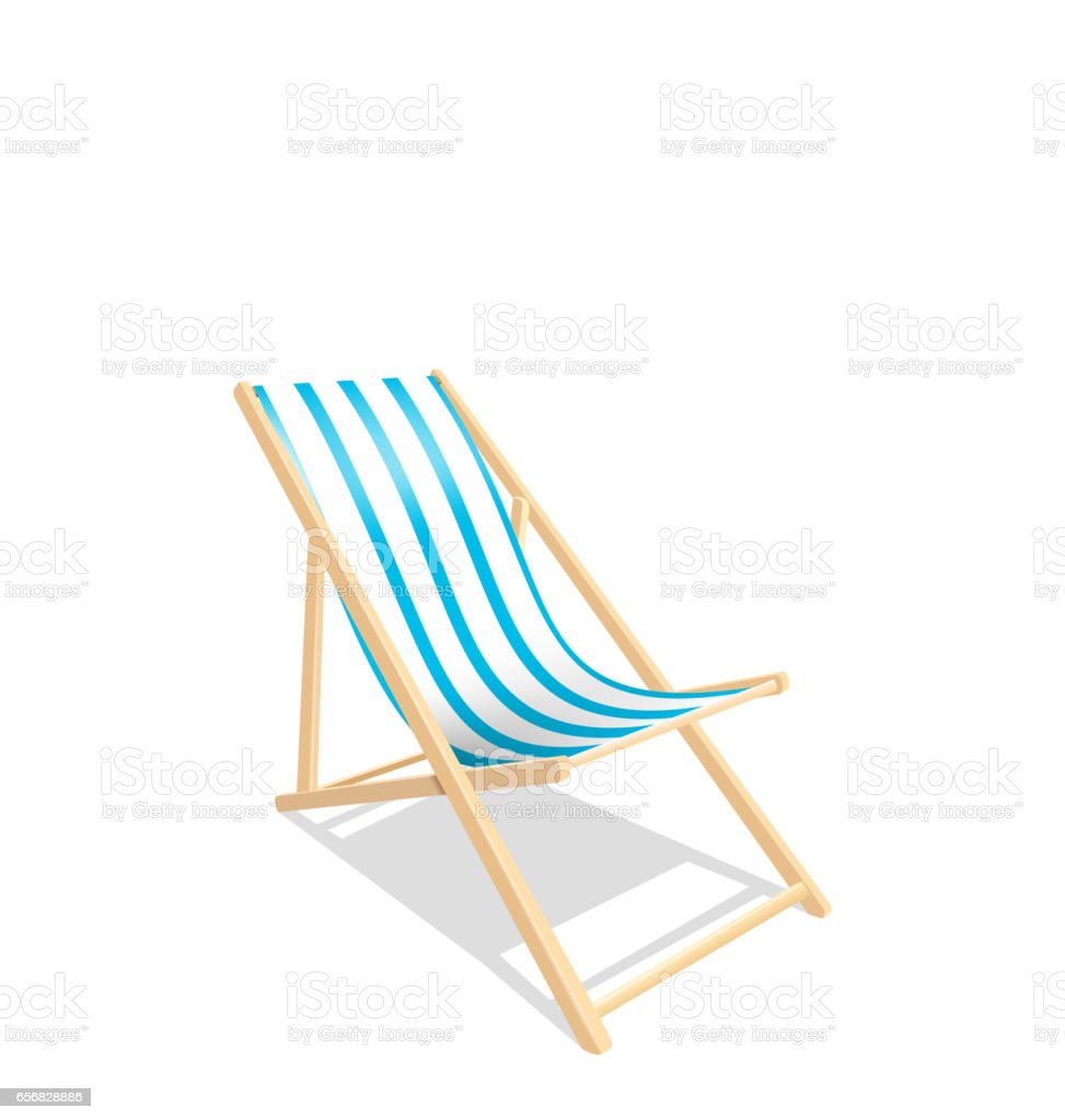 Wooden Beach Chaise Longue Isolated on White Background vector art illustration