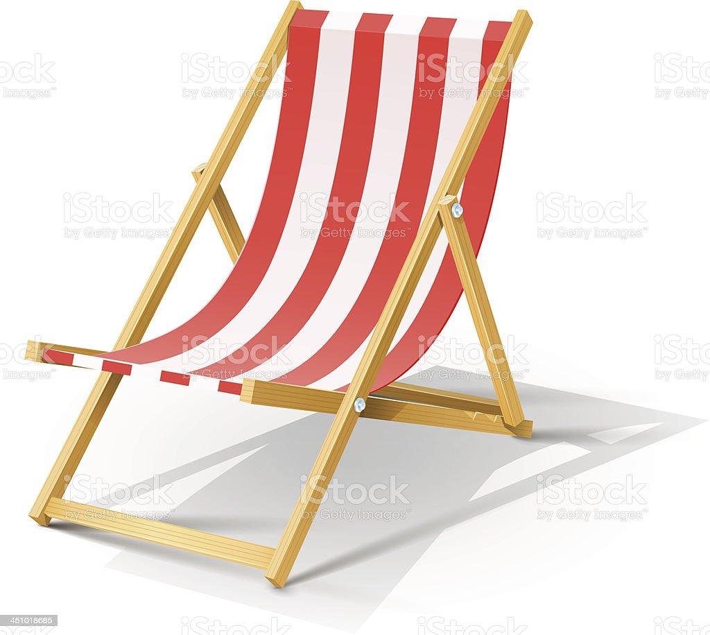 wooden beach chaise longue vector art illustration
