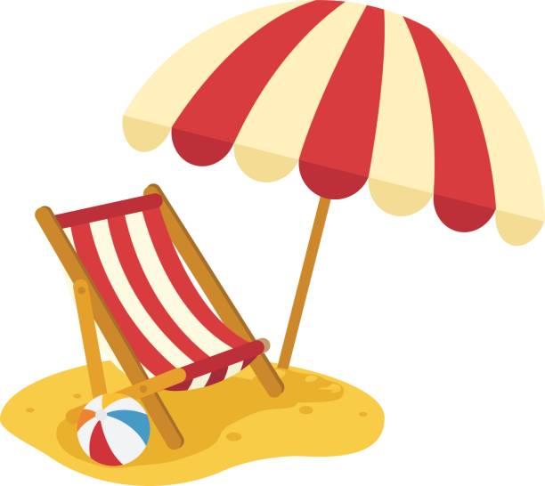 illustrations, cliparts, dessins animés et icônes de chaise de plage en bois avec le vecteur de parapluie - transat