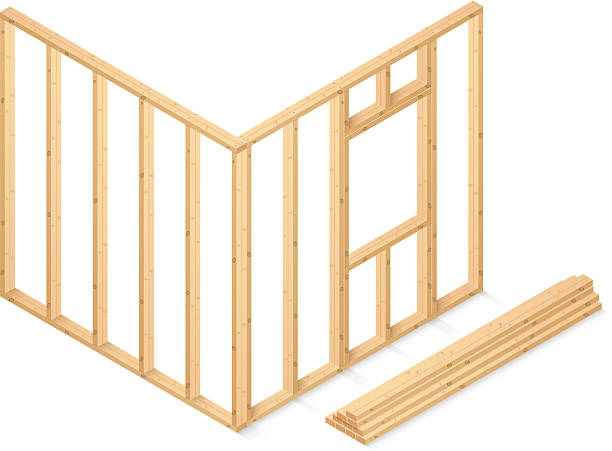 Wooden beams starting the foundation of a house vector art illustration