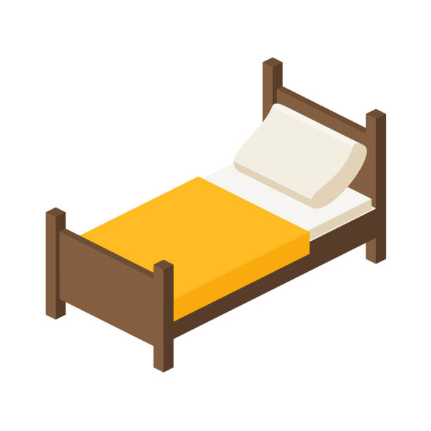 wooden bed for one person in an isometric view single bed.wooden bed for one person in an isometric view, bed for an adult with a pillow and a blanket in a flat style bed for interior vector illustration isolated on white background place to sleep bed furniture stock illustrations