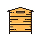 Wooden beehive, bee hive thin line flat style icon