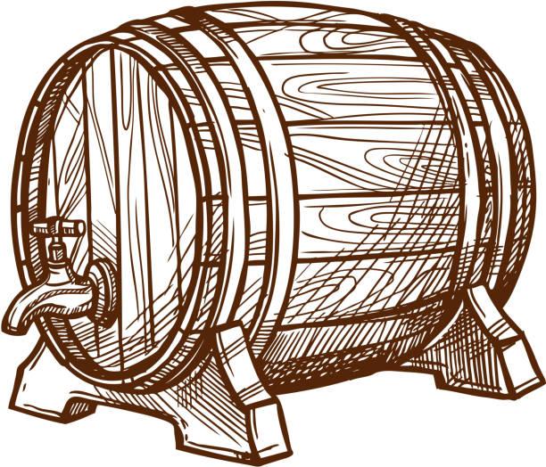 Hölzerne Bier Fass Vektor Skizzensymbol – Vektorgrafik