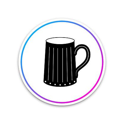 Wooden Beer Mug Icon Isolated On White Background Circle