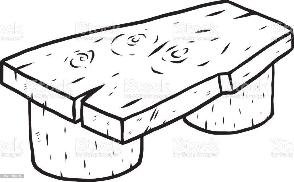 Enjoyable Wooden Bench Cartoon Vector And Illustration Black And White Machost Co Dining Chair Design Ideas Machostcouk