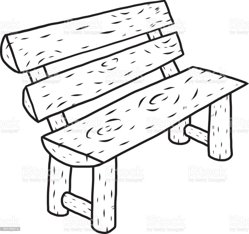 Wooden Bench Cartoon Vector And Illustration Black And White Hand Drawn Sketch Style Isolated On