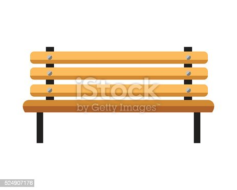 Wooden bench. Isolated on white background. Vector
