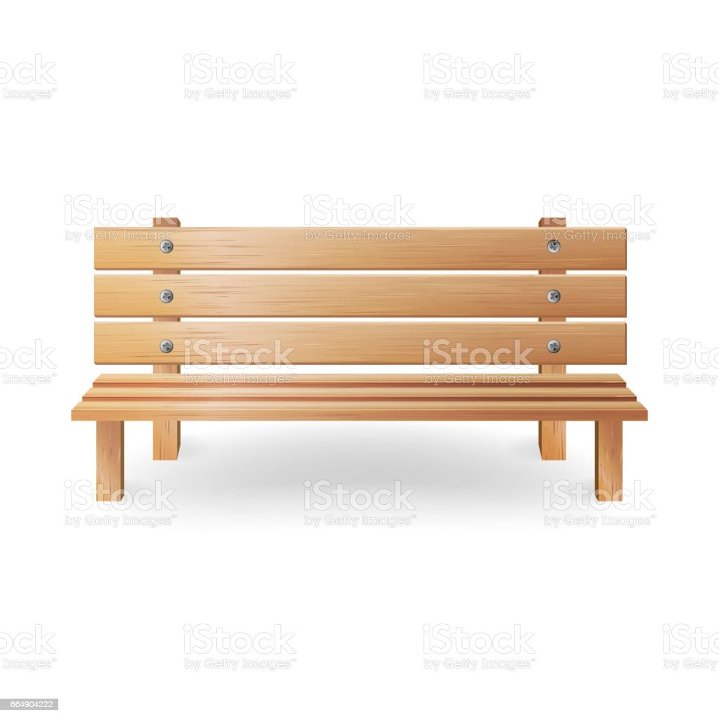Wooden Bench Realistic Vector Illustration. Single Wooden Park Bench On White wooden bench realistic vector illustration single wooden park bench on white - immagini vettoriali stock e altre immagini di ambientazione esterna royalty-free