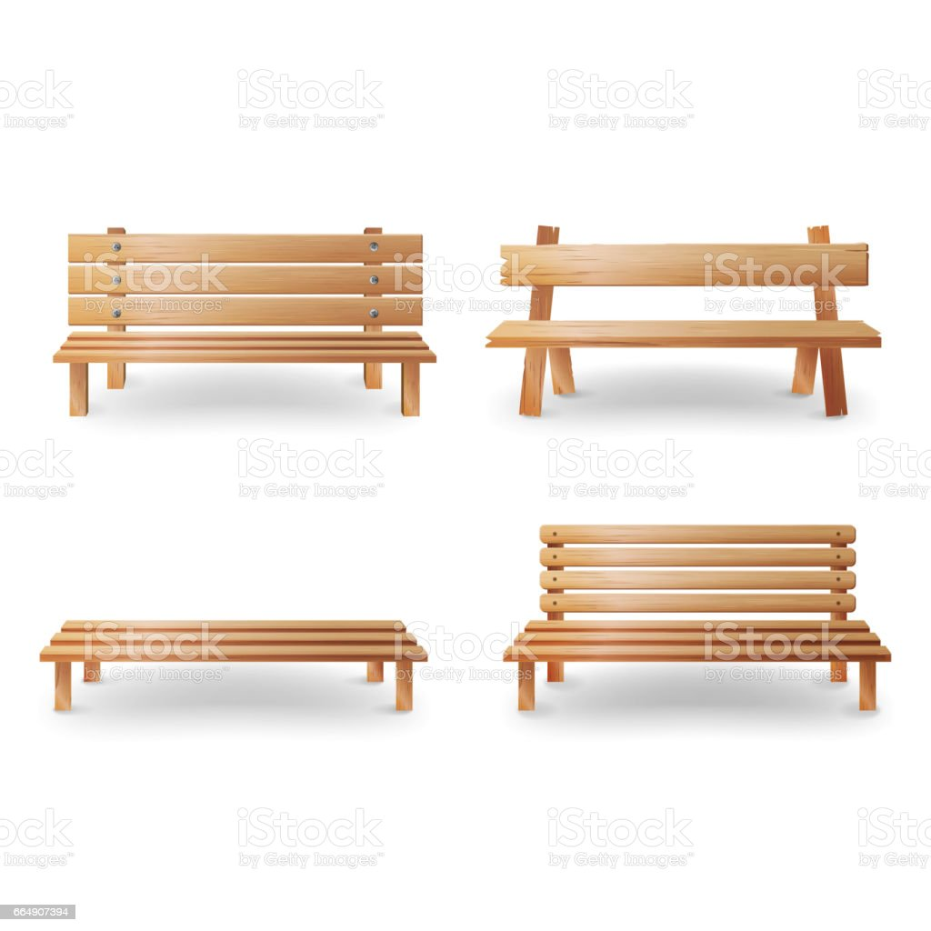 Wooden Bench Realistic Vector Illustration. Smooth Wooden Classic Furniture  On White Background Vector Art Illustration