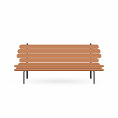 Wooden bench. Street brown bench isolated on white background. Vector