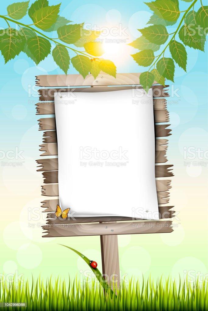 Holzplakatwand Mit Weißen Blatt Papier Stehen Auf Einer Wiese Stock