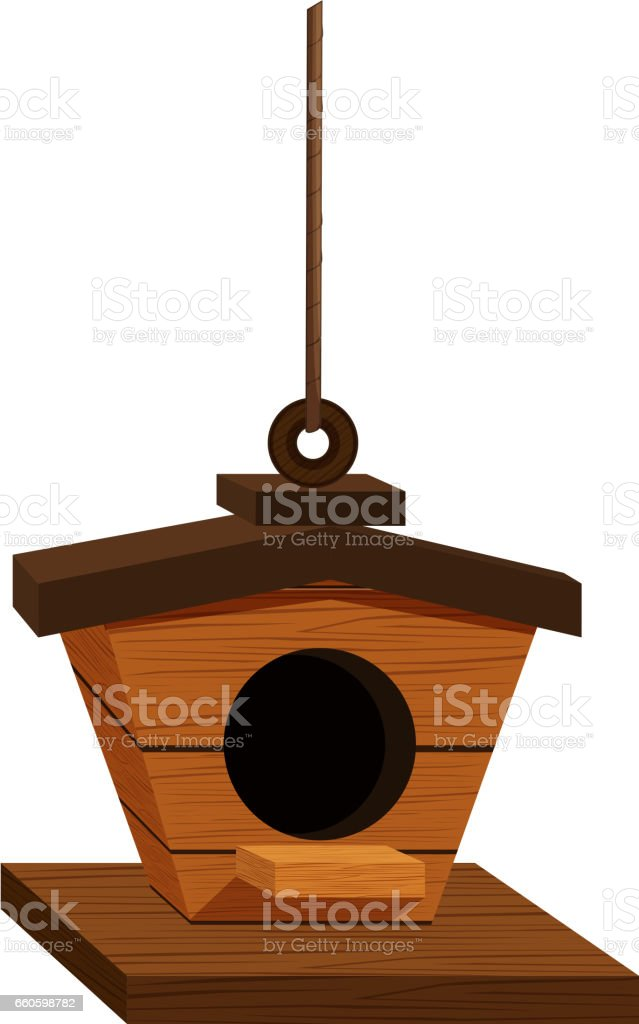 Wooden birdhouse hanging down royalty-free wooden birdhouse hanging down stock vector art & more images of art