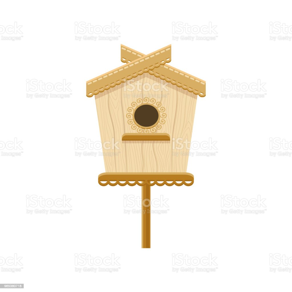 Wooden birdhouse on stand. Flat vector icon of nesting box. Small house for birds. Decorative element for greeting card royalty-free wooden birdhouse on stand flat vector icon of nesting box small house for birds decorative element for greeting card stock vector art & more images of animal